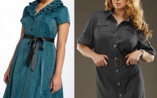 Платье-рубашка для полных девушек
